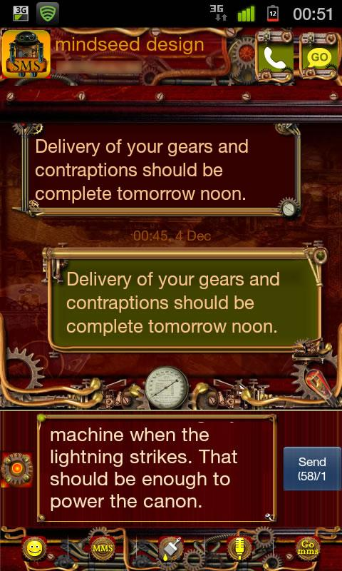 Steampunk GO SMS Theme- screenshot
