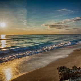 Radiant Sunrise by Sandy Friedkin - Landscapes Sunsets & Sunrises ( ocean, sunrise, beach, rocks, golden light, , relax, tranquil, relaxing, tranquility )