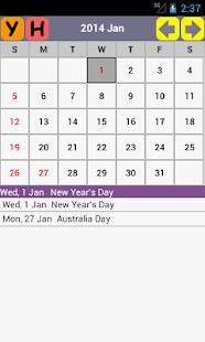 AU Holiday Calendar 2015 - screenshot thumbnail