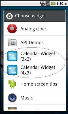 Calendar Widget - screenshot