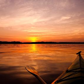 Dusk Paddle by Jon Hurd - Transportation Boats ( colour, water, canada, color, sunset, lake, ontario, bow, kayak, paddle, device, transportation,  )