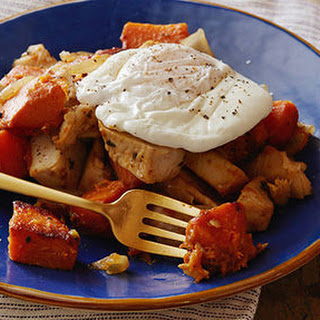 Poached Eggs with Herb-Roasted Turkey Breast and Sweet Potato Hash.