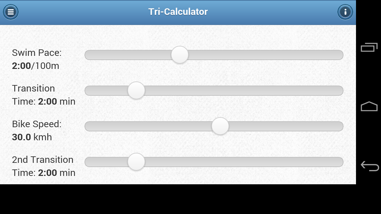Triathlon Race Calculator- screenshot