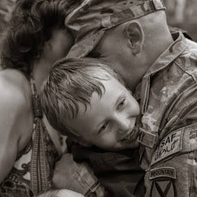 Soldier Coming home from war by Kimberly Arend Porter - People Family ( love, soldier, family, fortdrum, deployment, reunion )