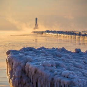 Only in Port by James Meyer - Nature Up Close Water ( iceberg, frigid, fog, breakwater, ice, formations, lighthouse, frozen lake, sunrise, frozen, mist )