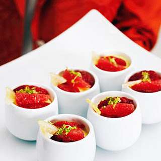 Honey Custards with Blood Oranges and Candied Lemon