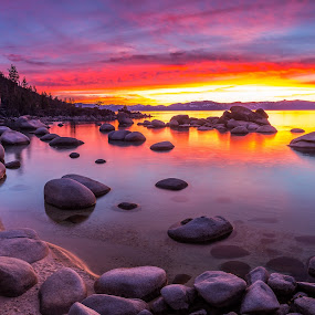 Light My Fire by Mike Lindberg - Landscapes Sunsets & Sunrises ( alpine lake, reflection, sierra nevada, mountain lake, eastern sierra, california, nevada, tahoe, sierra, lake tahoe, Earth, Light, Landscapes, Views )