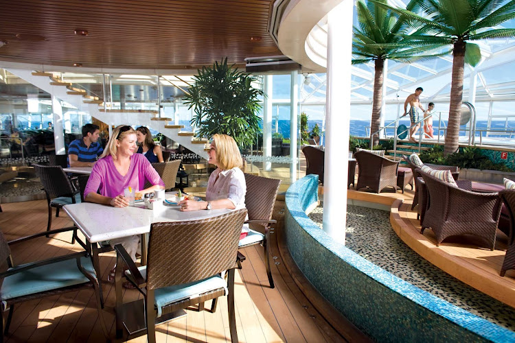 The Solarium Bistro Restaurant offers healthier dining options on board the Oasis of the Seas.