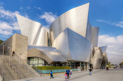 walt-disney-concert-hall-los-angeles - The Walt Disney Concert Hall in Los Angeles. Designed by Frank Gehry, it has curved metallic surfaces that make for magical acoustics.