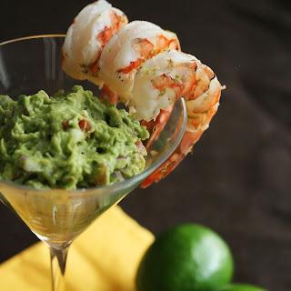 Margarita Shrimp with Grilled Avocado Guacamole.