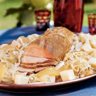 Roast Pork with Apples, Cabbage, and Turnips.