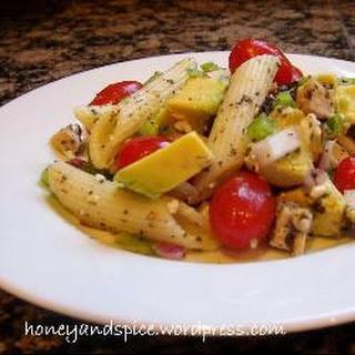 Chicken, Tomato, Avocado and Feta Pasta Salad.