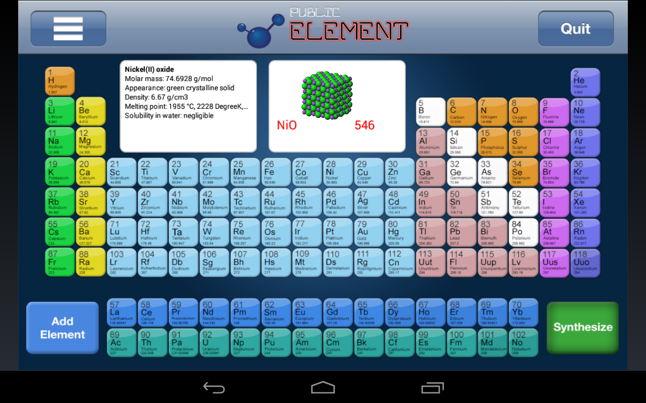 Periodic table game android apps on google play periodic table game screenshot gamestrikefo Image collections