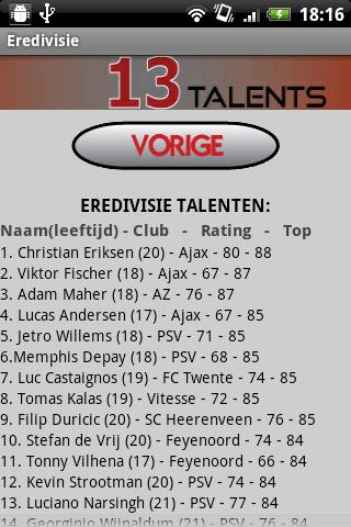 FIFA 13 Talenten - screenshot