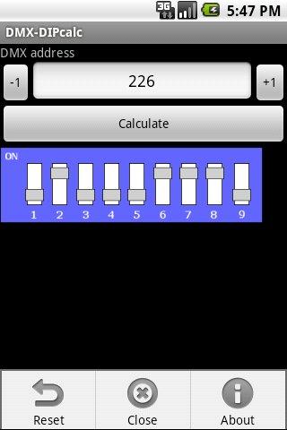 DMX-DIP calculator- screenshot