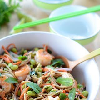 Spicy Peanut Noodles with Edamame & Shrimp