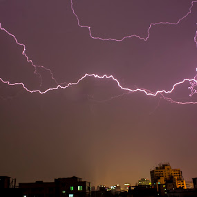 Storm IS coming  by Qamrul Hassan Shajal - Landscapes Weather ( thundering, building, lightening, night, storm, light, city, dhaka )