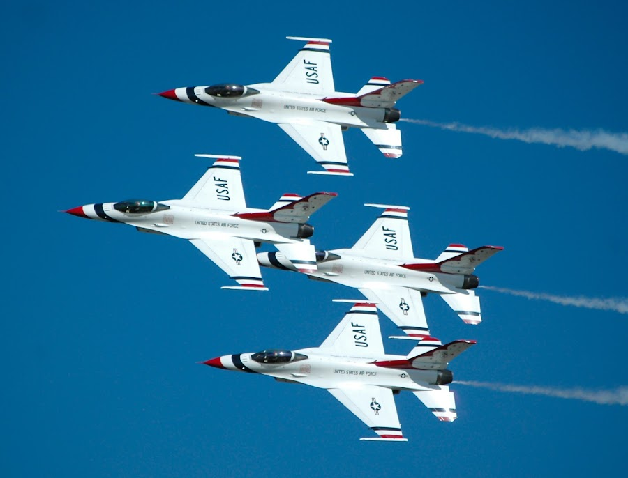 Flyby from The Thunderbirds by Cliff Dowden - Transportation Airplanes ( wings over houston, airplane, usaf, flyby, thunderbirds, air, transport )
