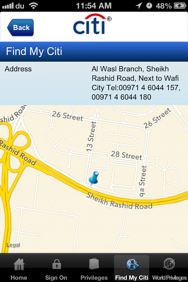 Citibank UAE - screenshot