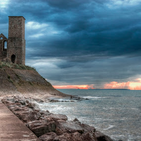 Reculver by Kevin Towler - Landscapes Beaches ( uk, reculver, relax, kent, sea, beach, seaside, relaxing, tranquil, tower, england, sunset, tranquility,  )