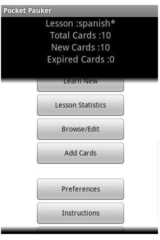 Pocket Pauker Flashcards- screenshot