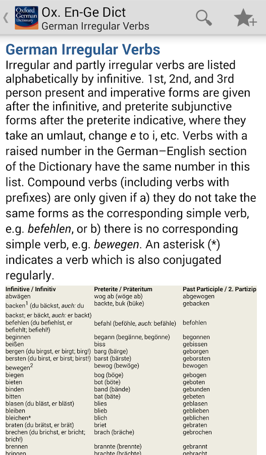 Oxford German Dictionary TR - screenshot