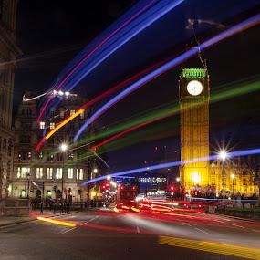 Big Ben light trails by Brian Miller - City,  Street & Park  Night ( parliament, london, light trails, night, big ben,  )