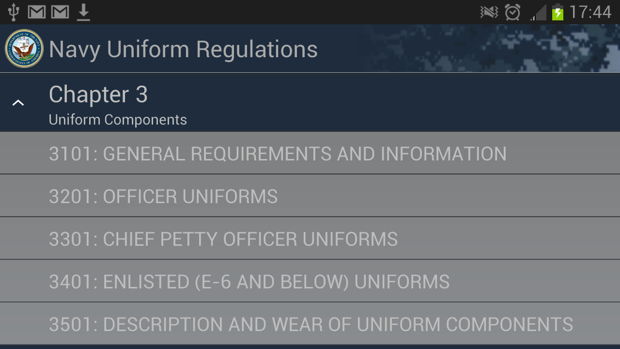Navy Uniform Regulations - screenshot