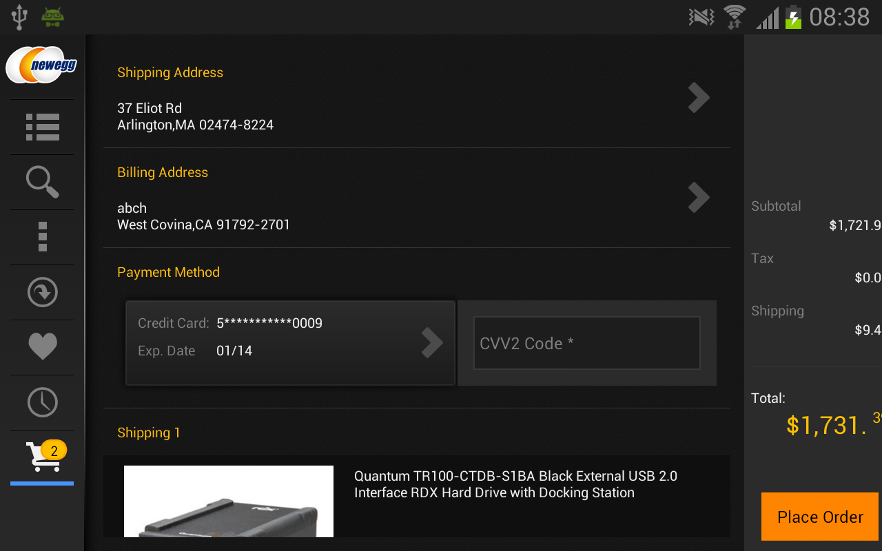 Newegg for Google TV- screenshot