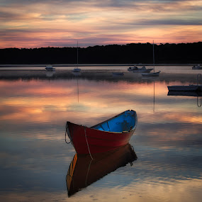 The Red Dingy by Anne Marie Hickey - Transportation Boats ( red boat, sunrise, dingy, cape cod )