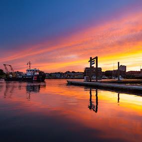 Coming Home by Jeff Klein - Landscapes Sunsets & Sunrises ( water, sunset, norwalk, sono, bridge, boat, landscape )
