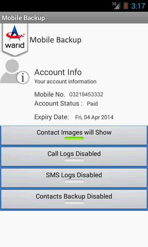 Warid Mobile Backup - Pakistan- screenshot