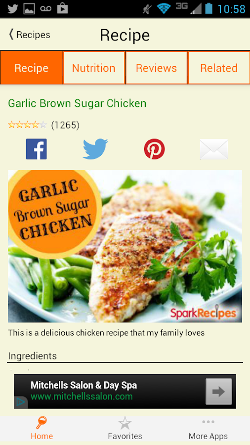 Healthy Recipes - SparkRecipes - screenshot
