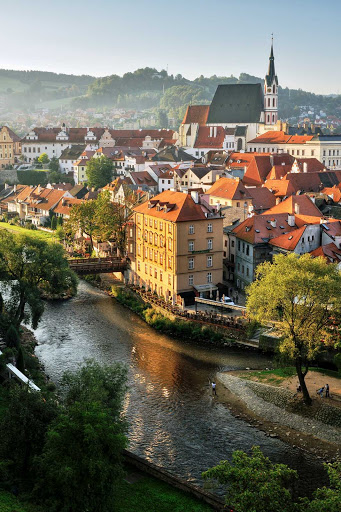 The historic center of Cesky Krumlov, in the south of the Czech Republic, appears much as it did 500 years ago.