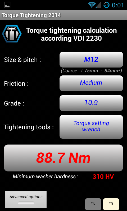 Bolt torque tightening 2015 - screenshot