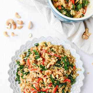 Garlic Kale and Cashew Fried Rice