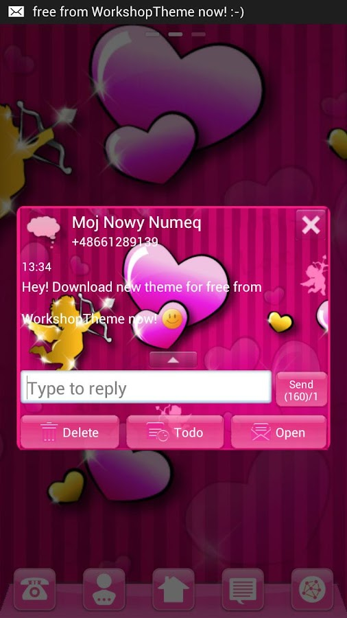 GO SMS Pro Theme lovely pink - screenshot