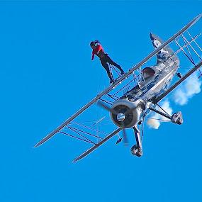 Blue Skies & Nerves Of Steel by Roy Walter - Transportation Airplanes ( biplane, airplane, transportation, wingwalker, daredevil )
