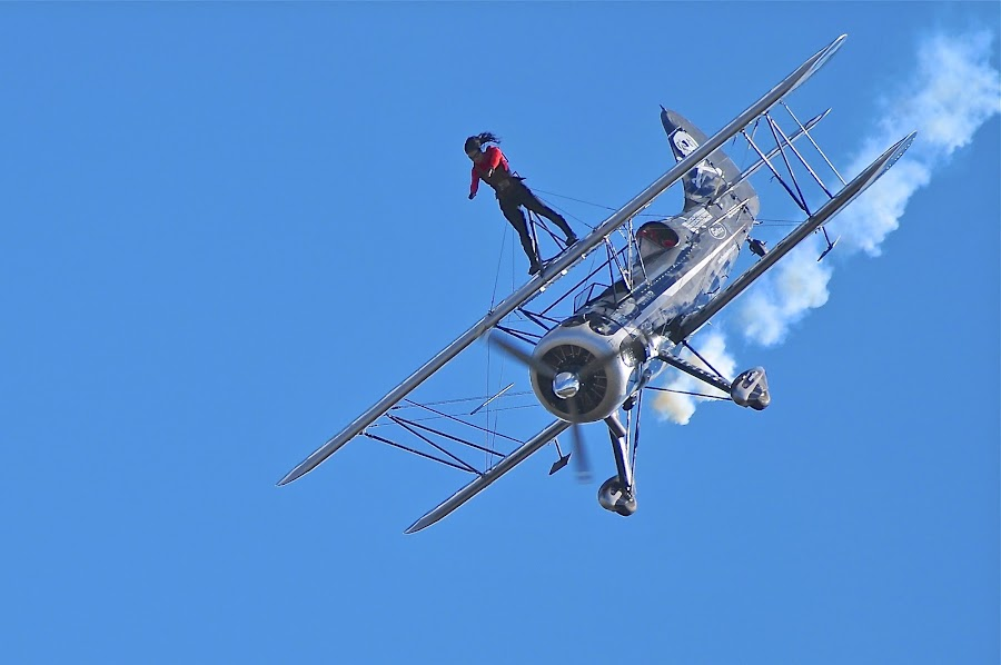 Blue Skies & Nerves Of Steel by Roy Walter - Transportation Airplanes ( biplane, airplane, transportation, wingwalker, daredevil )