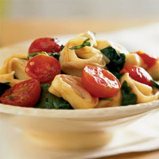 Tortellini with Spinach and Cherry Tomatoes.