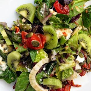 Roast Tomato and Goats Cheese Salad with Maldon Smoked Sea Salt and Kiwi Fruit Recipe
