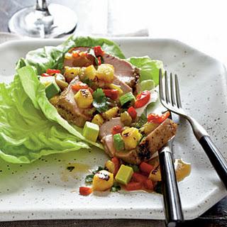 Pork, Pineapple, and Anaheim Chile Salad with Avocado.
