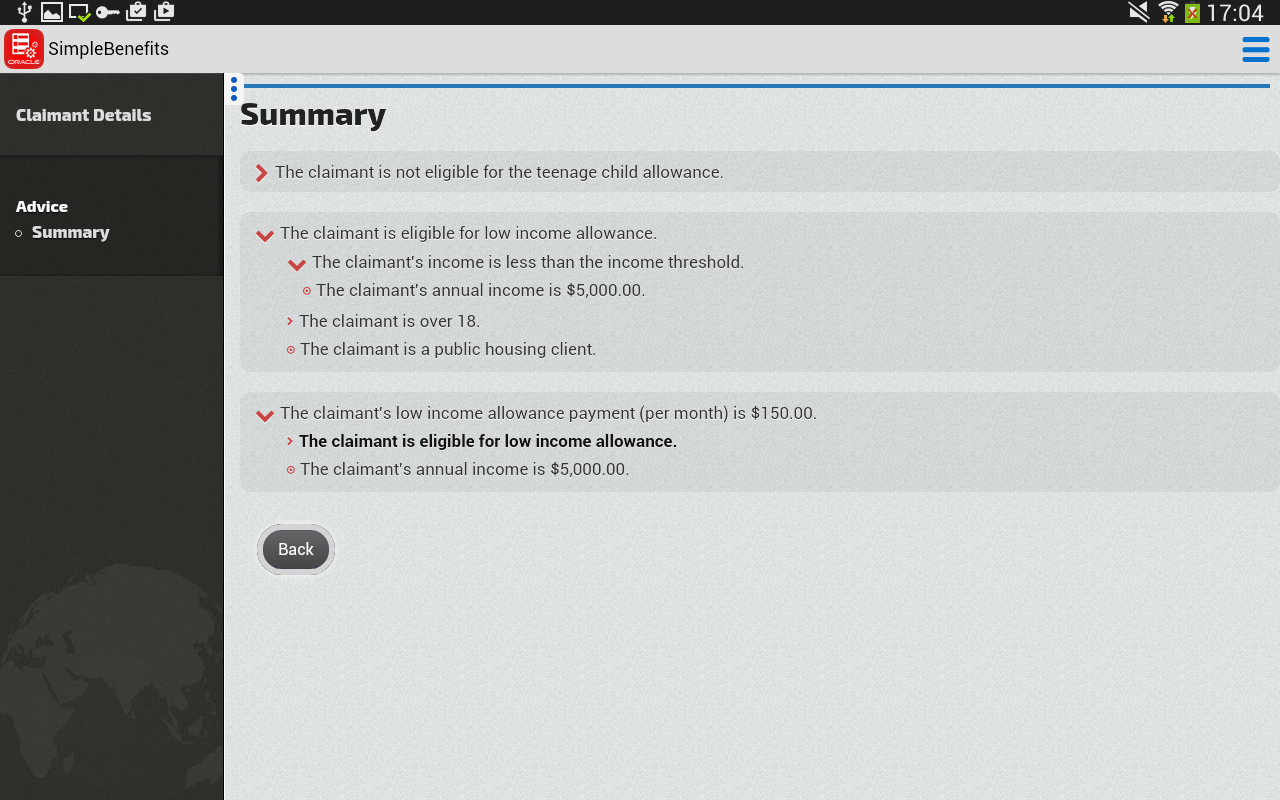 Oracle Policy Automation- screenshot