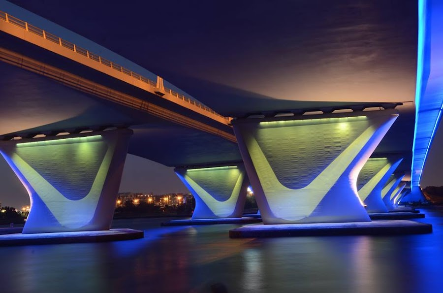 AL GARHOUD BRIDGE AT NIGHT  by Mawulikplimi Olegario - City,  Street & Park  Night