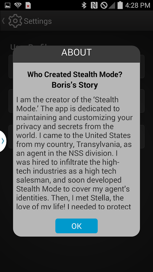 StealthModeApp- screenshot