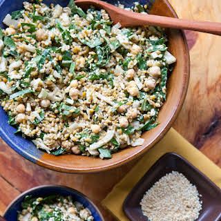 Mediterranean-Spiced Freekeh Salad with Collard Greens and Chickpeas.
