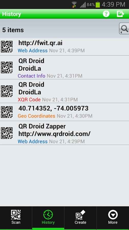 QR Droid Private™ (Polski) - screenshot