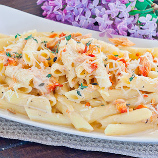 Penne with Cream and Smoked Salmon.