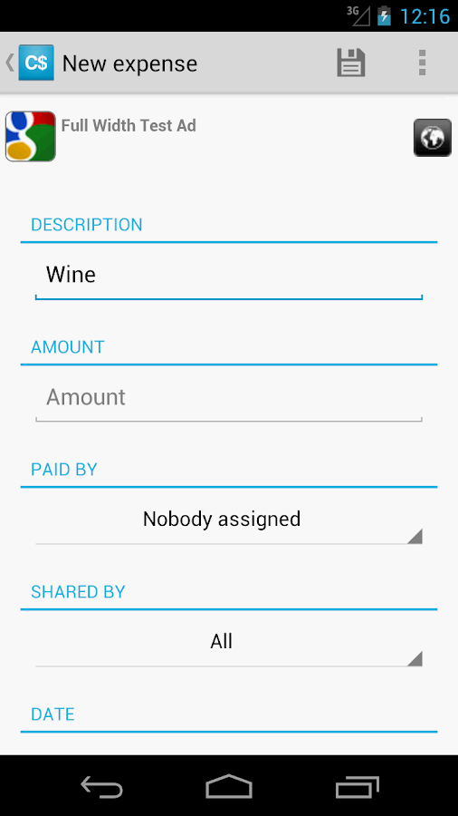 CostSharing - screenshot