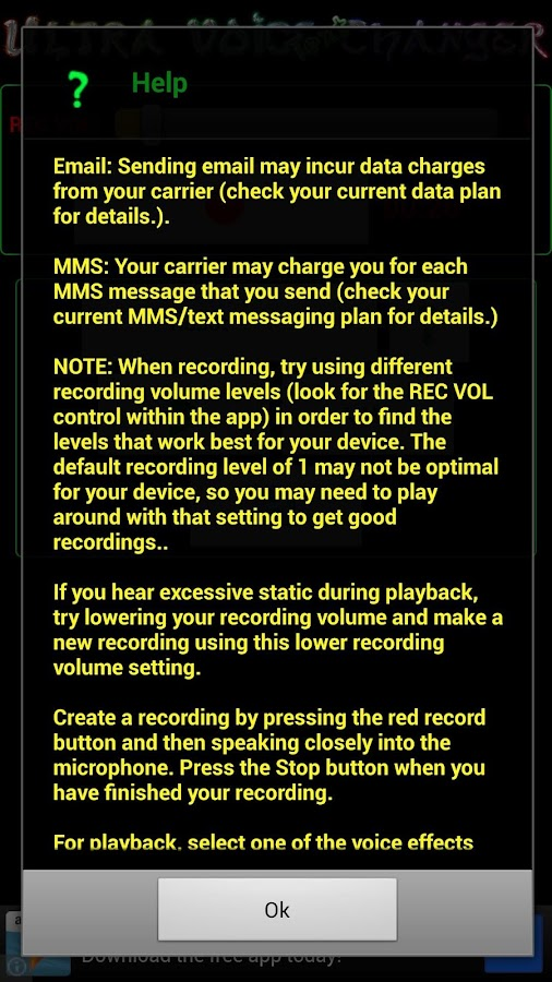 Ultra Voice Changer Text - screenshot